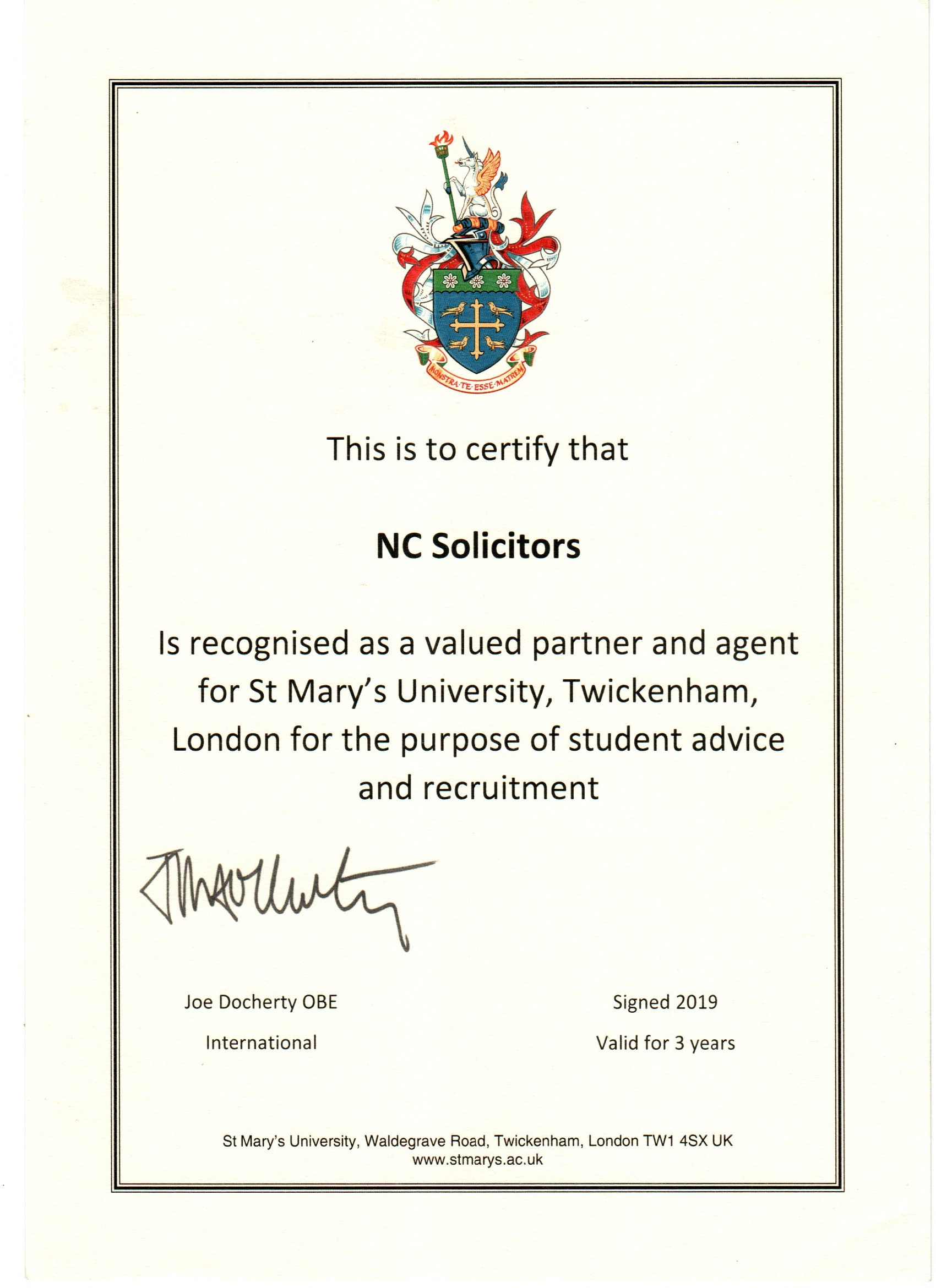 nc Solicitors certification